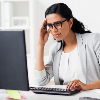 Woman stressed about computer problems