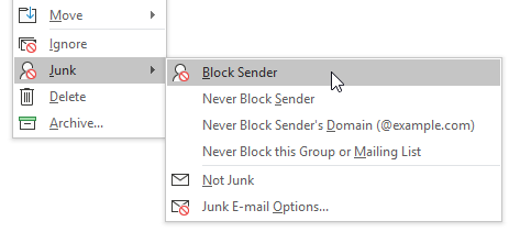 Right-Click To Send To Junk